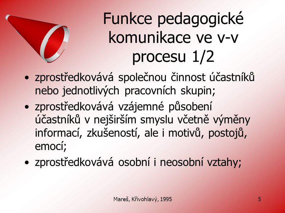 Mareš, Křivohlavý, 19956 Funkce pedagogické komunikace ve v-v procesu 2/2 formuje všechny účastníky pedagogického procesu, zejména pak osobnost žáků; je prostředkem k uskutečňování výchovy a vzdělávání, neboť cíl, učivo, metody atd.