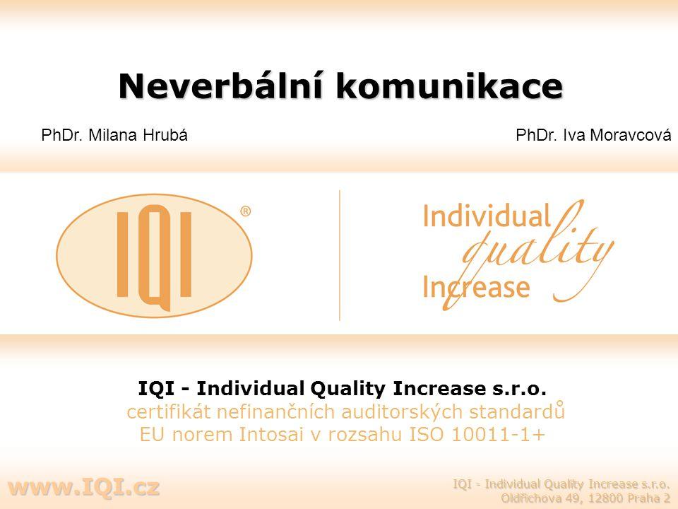 Neverbální komunikace IQI - Individual Quality Increase s.r.o. certifikát nefinančních auditorských standardů EU norem Intosai v rozsahu ISO 10011-1+