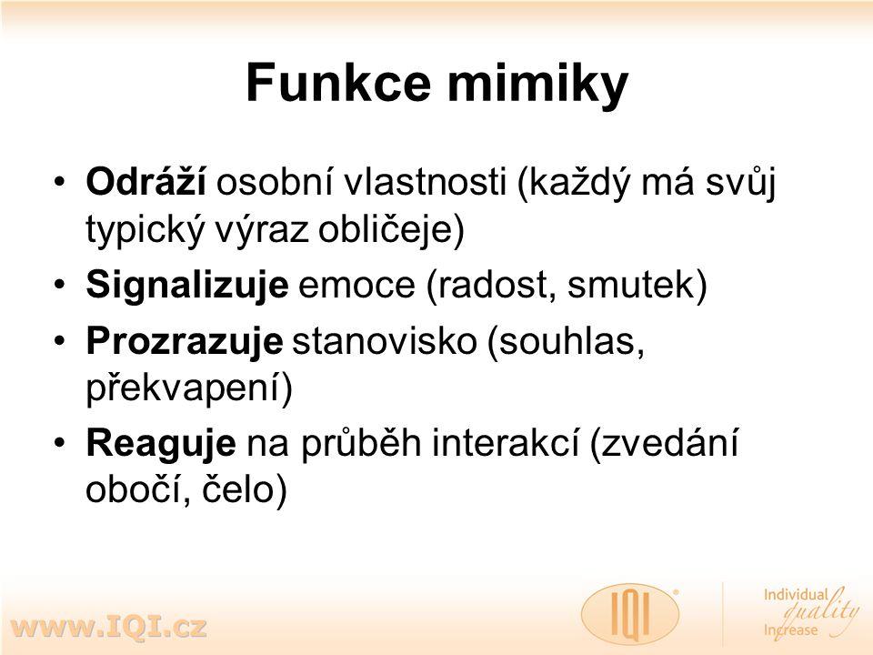 Funkce mimiky Odráží osobní vlastnosti (každý má svůj typický výraz obličeje) Signalizuje emoce (radost, smutek) Prozrazuje stanovisko (souhlas, překv
