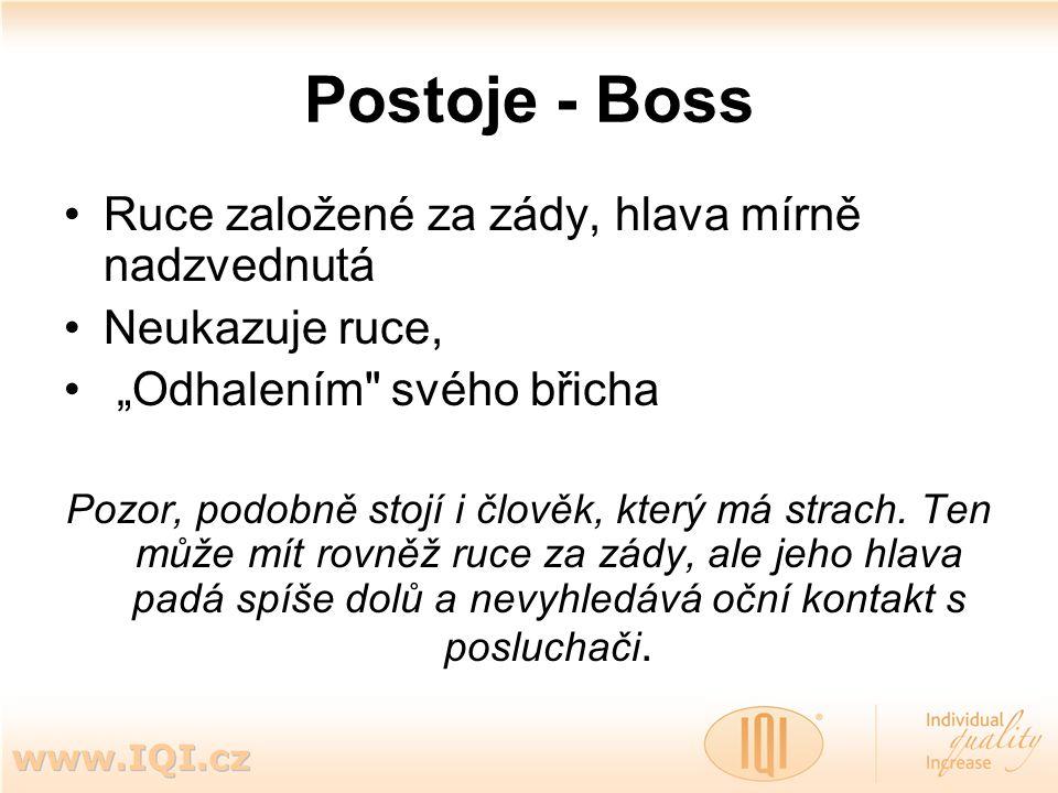 """Postoje - Boss Ruce založené za zády, hlava mírně nadzvednutá Neukazuje ruce, """"Odhalením"""