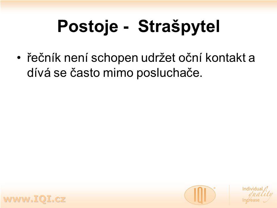 Postoje - Strašpytel řečník není schopen udržet oční kontakt a dívá se často mimo posluchače.