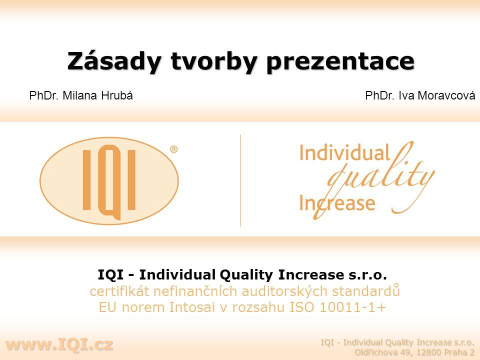 Zásady tvorby prezentace IQI - Individual Quality Increase s.r.o. certifikát nefinančních auditorských standardů EU norem Intosai v rozsahu ISO 10011-