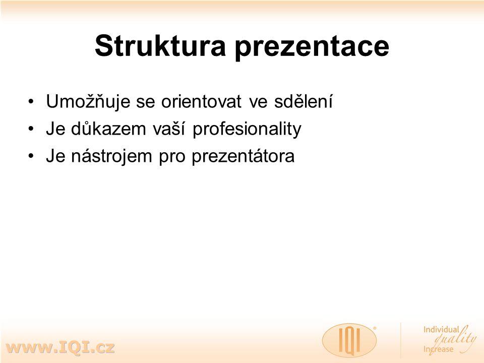 Struktura prezentace Umožňuje se orientovat ve sdělení Je důkazem vaší profesionality Je nástrojem pro prezentátora