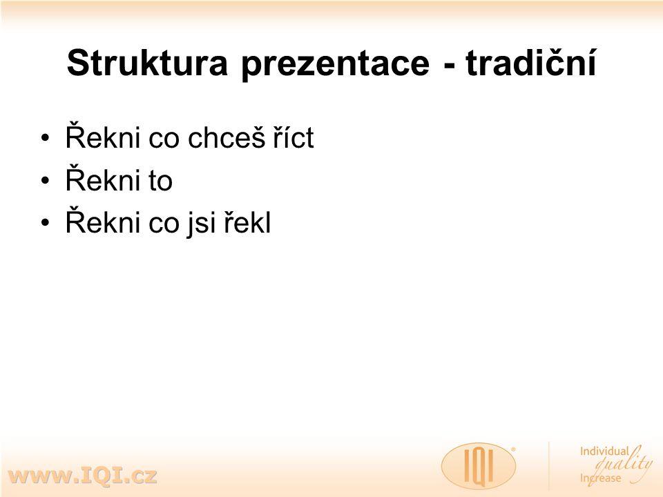 Struktura prezentace - tradiční Řekni co chceš říct Řekni to Řekni co jsi řekl