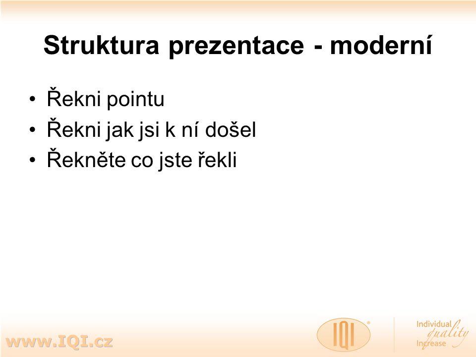 Struktura prezentace - moderní Řekni pointu Řekni jak jsi k ní došel Řekněte co jste řekli
