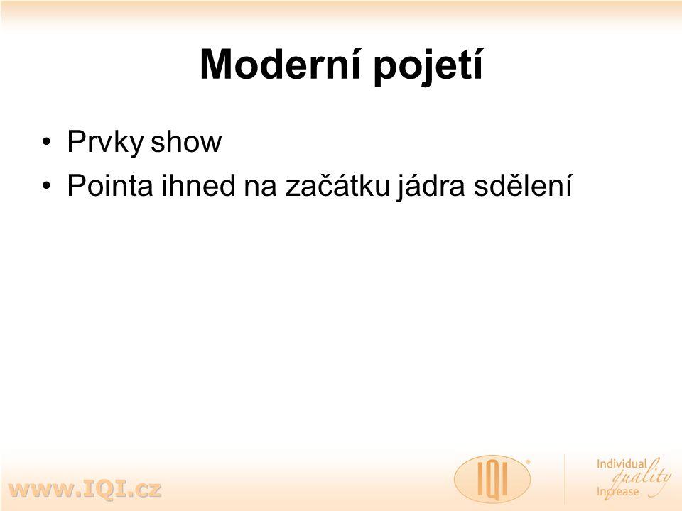Moderní pojetí Prvky show Pointa ihned na začátku jádra sdělení