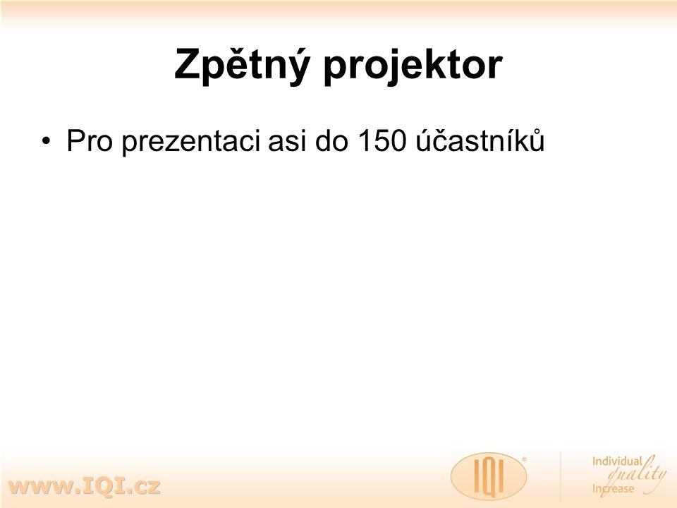 Zpětný projektor Pro prezentaci asi do 150 účastníků