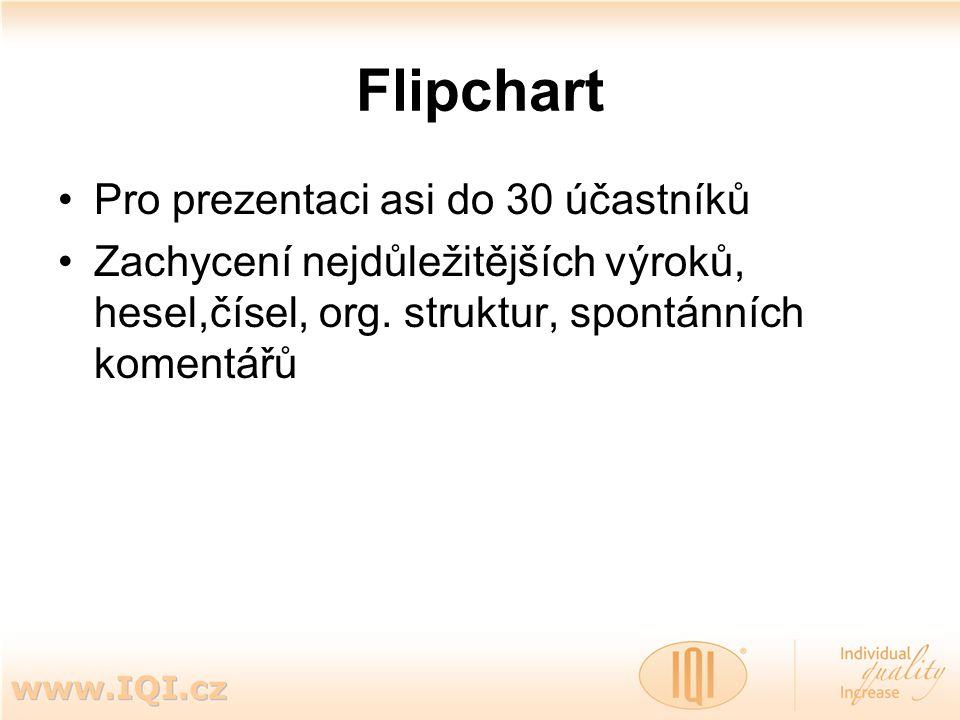 Flipchart Pro prezentaci asi do 30 účastníků Zachycení nejdůležitějších výroků, hesel,čísel, org. struktur, spontánních komentářů
