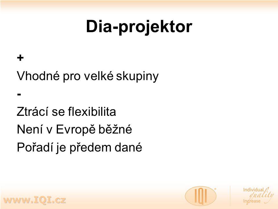 Dia-projektor + Vhodné pro velké skupiny - Ztrácí se flexibilita Není v Evropě běžné Pořadí je předem dané