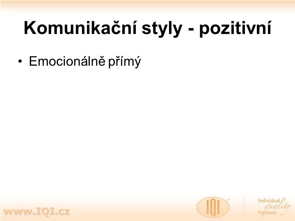 Komunikační styly - pozitivní Emocionálně přímý