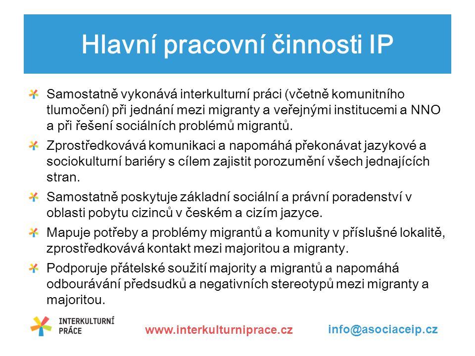 Hlavní pracovní činnosti IP Samostatně vykonává interkulturní práci (včetně komunitního tlumočení) při jednání mezi migranty a veřejnými institucemi a NNO a při řešení sociálních problémů migrantů.