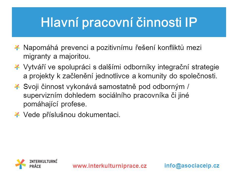 Hlavní pracovní činnosti IP Napomáhá prevenci a pozitivnímu řešení konfliktů mezi migranty a majoritou.