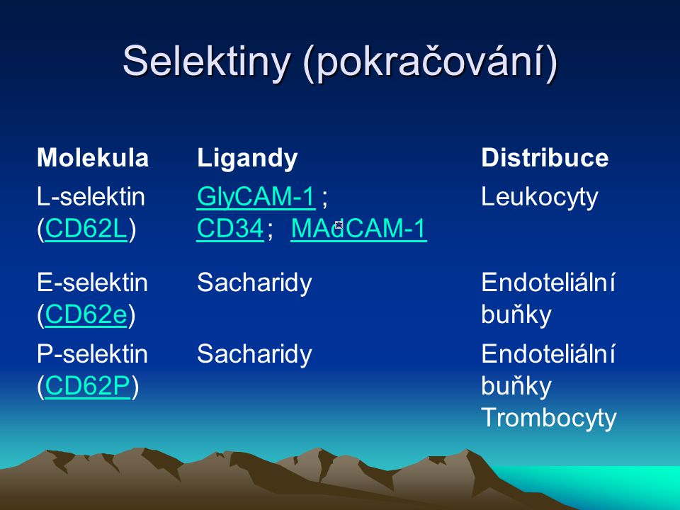 Selektiny (pokračování) MolekulaLigandyDistribuce L-selektin (CD62L) CD62L GlyCAM-1 GlyCAM-1 ; CD34 ; MAdCAM-1 CD34MAdCAM-1 Leukocyty E-selektin (CD62