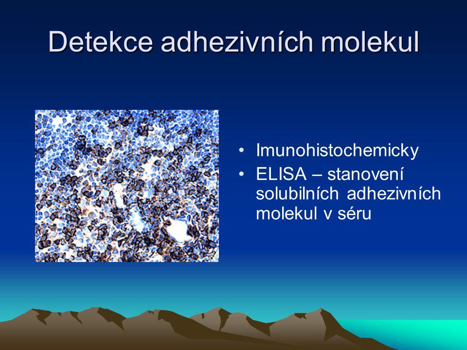Detekce adhezivních molekul Imunohistochemicky ELISA – stanovení solubilních adhezivních molekul v séru