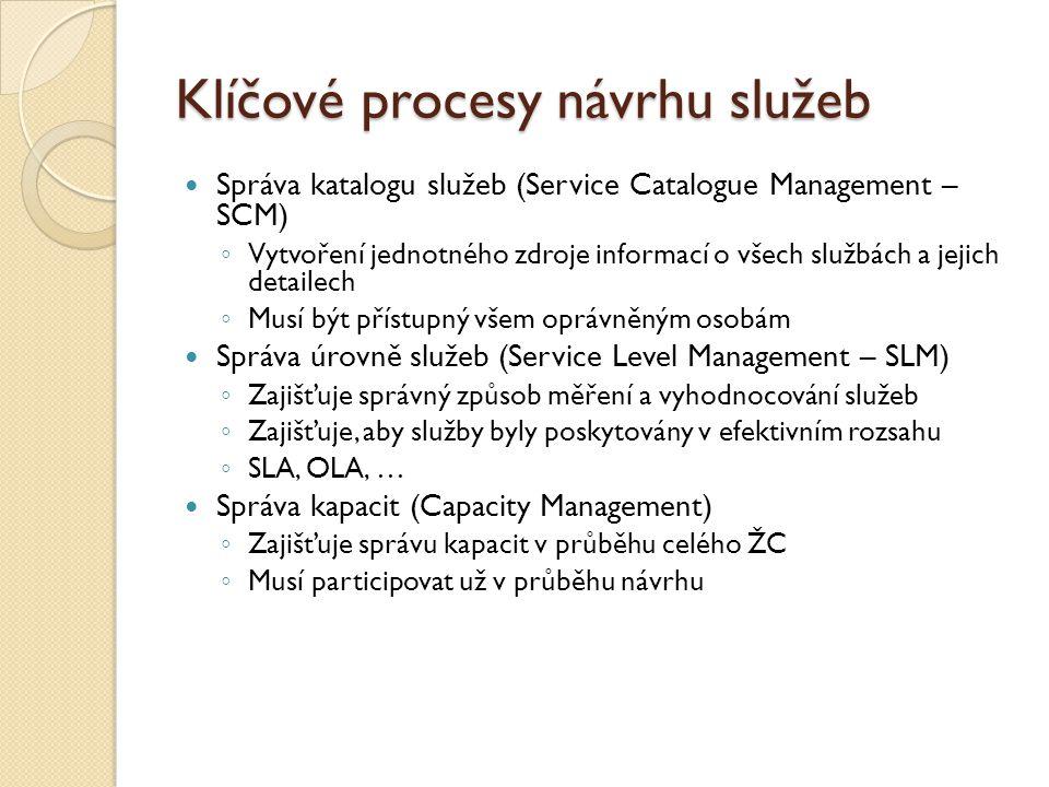 Klíčové procesy návrhu služeb Správa katalogu služeb (Service Catalogue Management – SCM) ◦ Vytvoření jednotného zdroje informací o všech službách a j