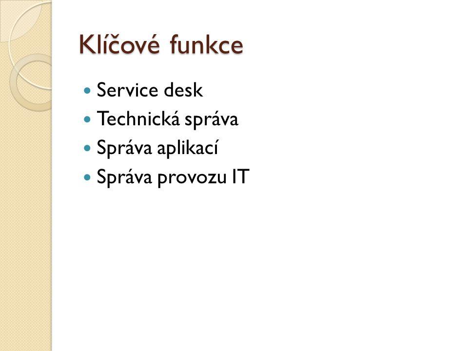 Klíčové funkce Service desk Technická správa Správa aplikací Správa provozu IT