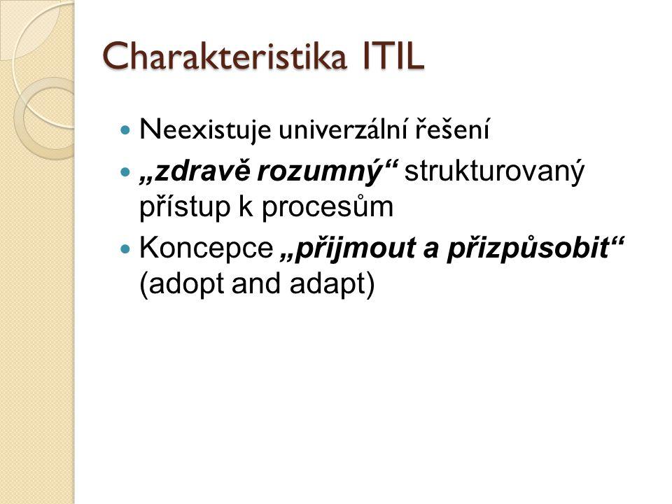 """Charakteristika ITIL Neexistuje univerzální řešení """"zdravě rozumný"""" strukturovaný přístup k procesům Koncepce """"přijmout a přizpůsobit"""" (adopt and adap"""