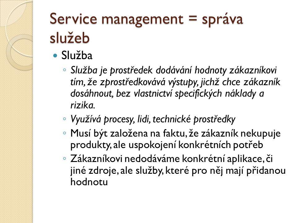 Service management = správa služeb Služba ◦ Služba je prostředek dodávání hodnoty zákazníkovi tím, že zprostředkovává výstupy, jichž chce zákazník dos