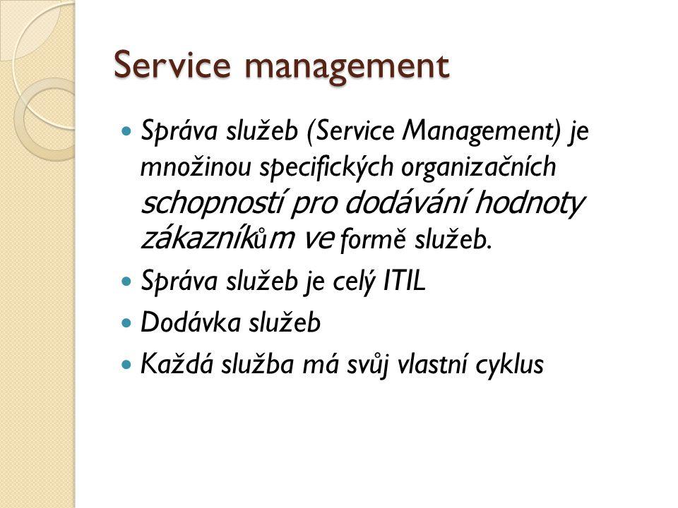 Service management Správa služeb (Service Management) je množinou specifických organizačních schopností pro dodávání hodnoty zákazníkům ve formě služe