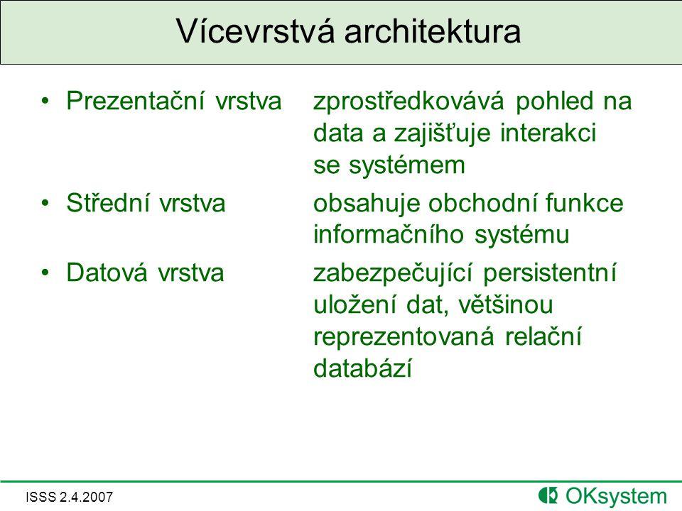 ISSS 2.4.2007 Vícevrstvá architektura Prezentační vrstvazprostředkovává pohled na data a zajišťuje interakci se systémem Střední vrstvaobsahuje obchodní funkce informačního systému Datová vrstvazabezpečující persistentní uložení dat, většinou reprezentovaná relační databází