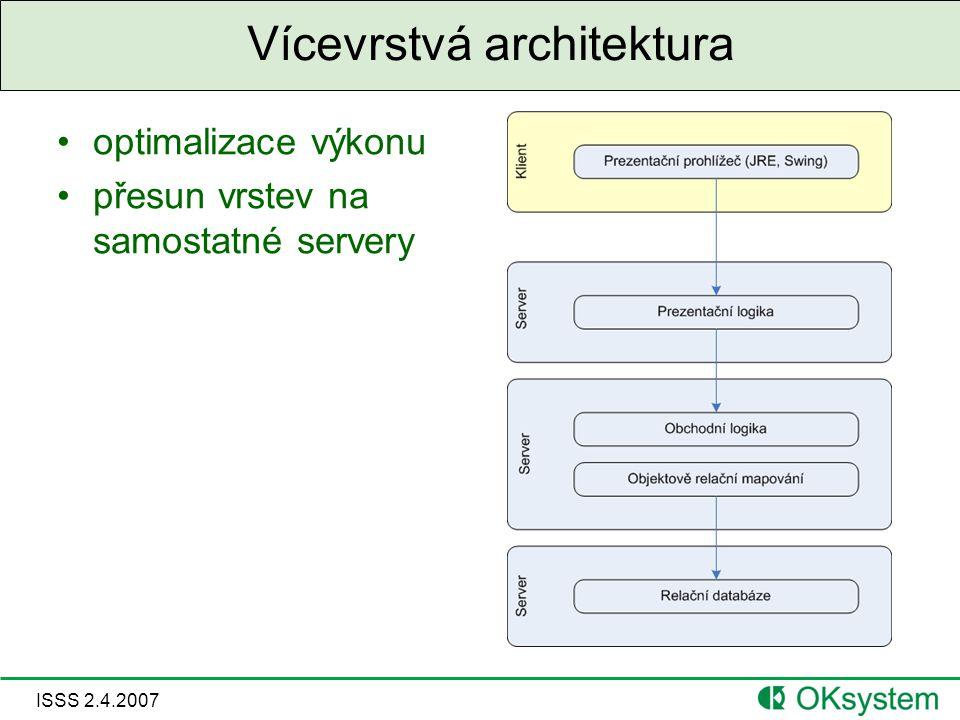 ISSS 2.4.2007 Vícevrstvá architektura optimalizace výkonu přesun vrstev na samostatné servery