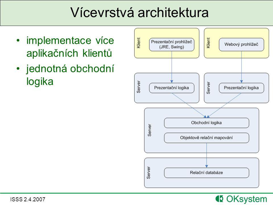 ISSS 2.4.2007 Vícevrstvá architektura implementace více aplikačních klientů jednotná obchodní logika