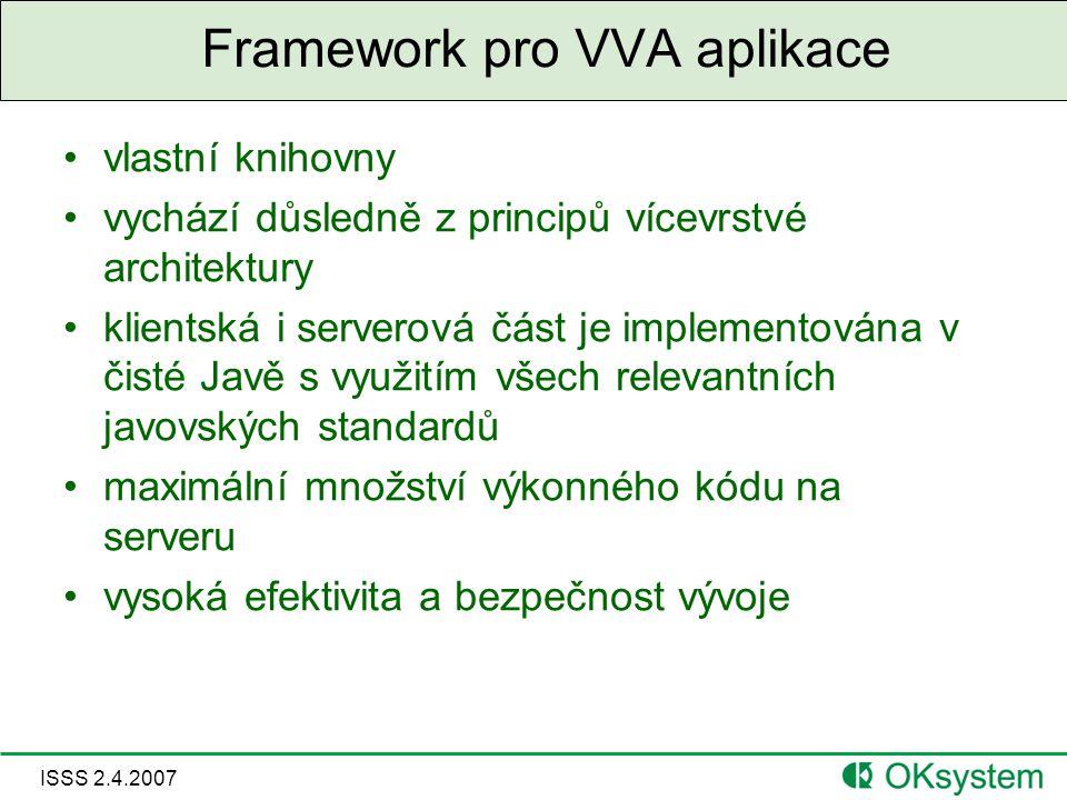 ISSS 2.4.2007 Framework pro VVA aplikace vlastní knihovny vychází důsledně z principů vícevrstvé architektury klientská i serverová část je implementována v čisté Javě s využitím všech relevantních javovských standardů maximální množství výkonného kódu na serveru vysoká efektivita a bezpečnost vývoje