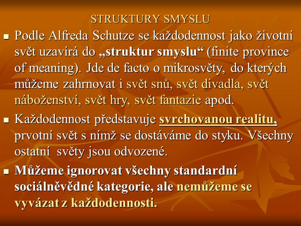 """STRUKTURY SMYSLU Podle Alfreda Schutze se každodennost jako životní svět uzavírá do """"struktur smyslu"""" (finite province of meaning). Jde de facto o mik"""
