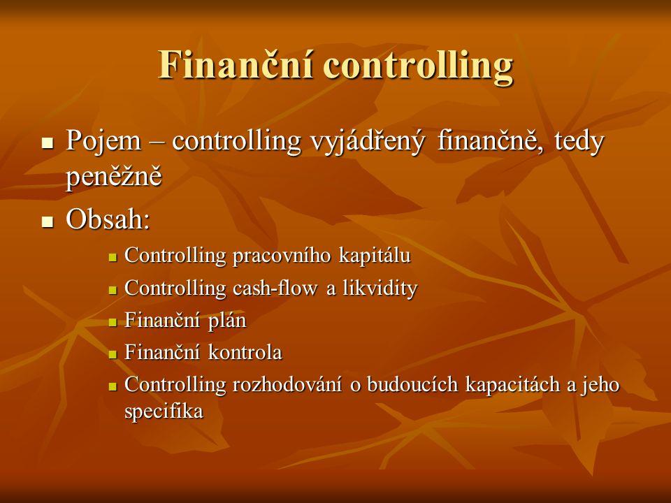 Finanční controlling Pojem – controlling vyjádřený finančně, tedy peněžně Pojem – controlling vyjádřený finančně, tedy peněžně Obsah: Obsah: Controlli