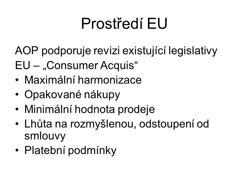 """Prostředí EU AOP podporuje revizi existující legislativy EU – """"Consumer Acquis"""" Maximální harmonizace Opakované nákupy Minimální hodnota prodeje Lhůta"""