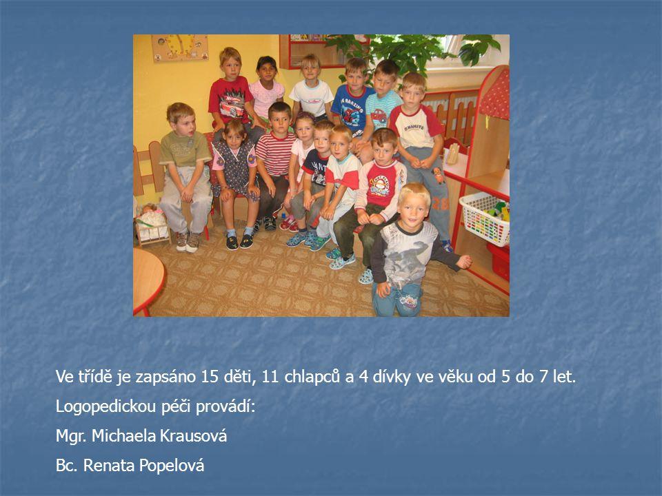 Ve třídě je zapsáno 15 děti, 11 chlapců a 4 dívky ve věku od 5 do 7 let. Logopedickou péči provádí: Mgr. Michaela Krausová Bc. Renata Popelová