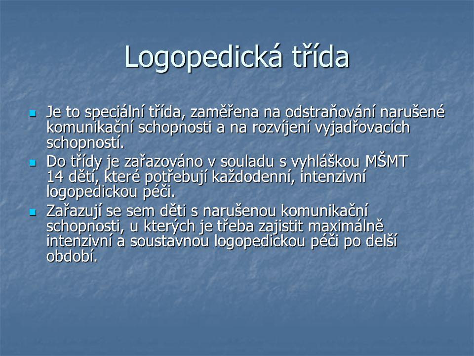Logopedická třída Je to speciální třída, zaměřena na odstraňování narušené komunikační schopnosti a na rozvíjení vyjadřovacích schopností. Je to speci