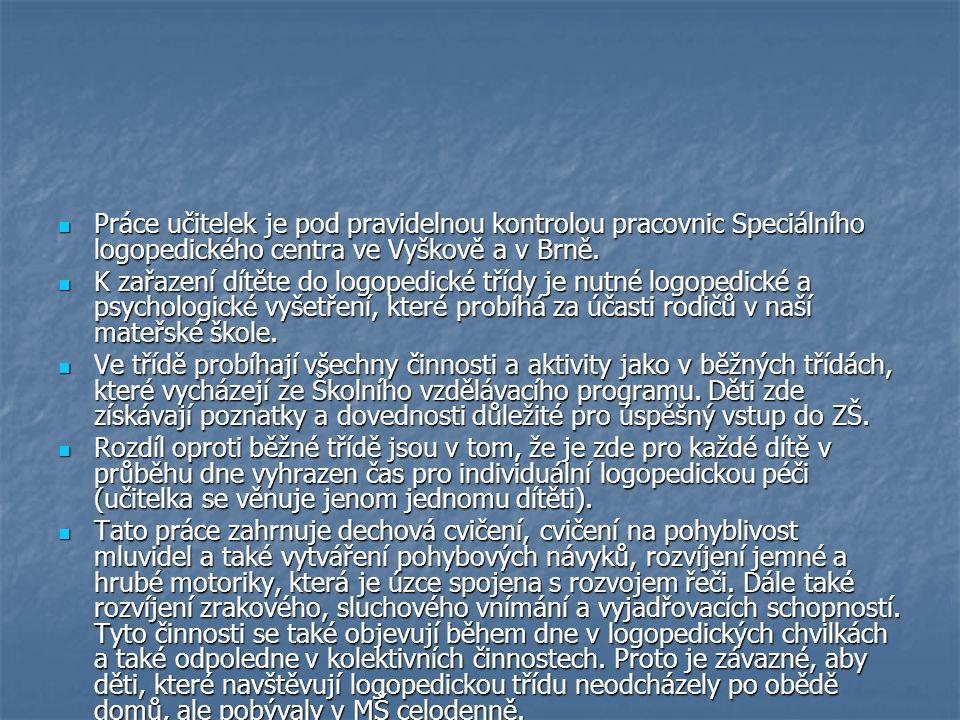Práce učitelek je pod pravidelnou kontrolou pracovnic Speciálního logopedického centra ve Vyškově a v Brně. Práce učitelek je pod pravidelnou kontrolo