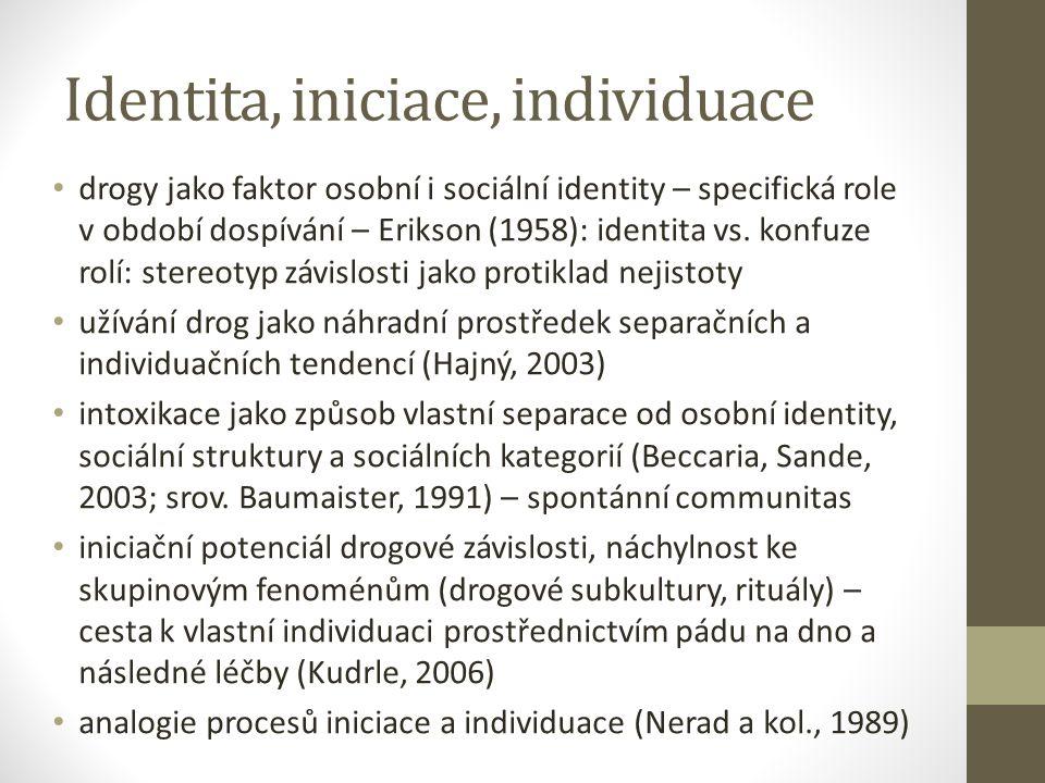 Identita, iniciace, individuace drogy jako faktor osobní i sociální identity – specifická role v období dospívání – Erikson (1958): identita vs.