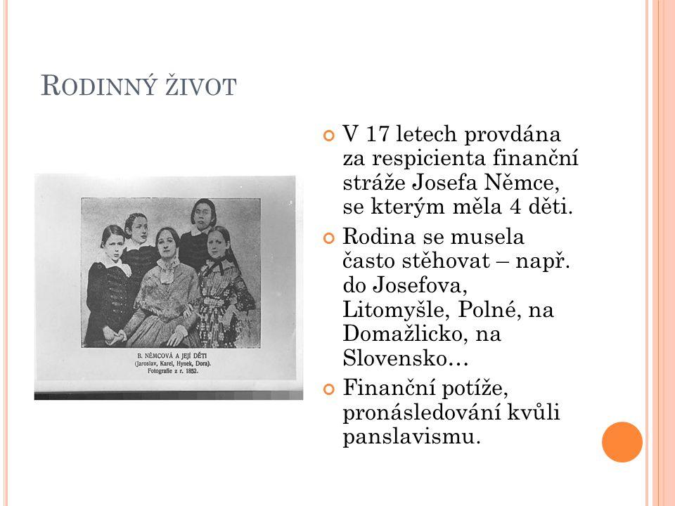 P UBLICISTICKÁ TVORBA Němcová přispívala do těchto časopisů: Květy, Česká včela, Moravský národní list, Posel z Prahy, Národní noviny, Lumír aj.