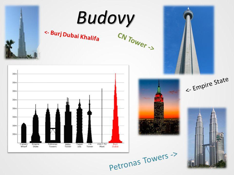 Budovy <- Burj Dubai Khalifa CN Tower -> <- Empire State Petronas Towers ->