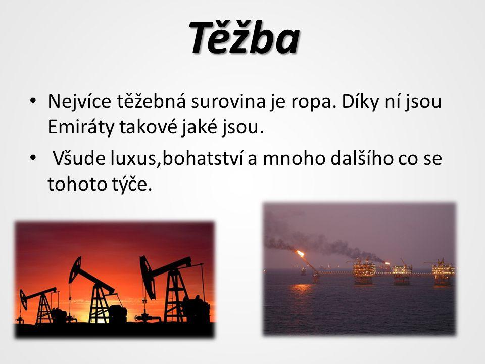 Těžba Nejvíce těžebná surovina je ropa. Díky ní jsou Emiráty takové jaké jsou.