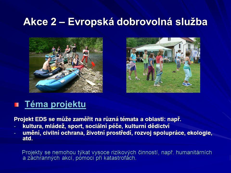 """Akce 2 – Evropská dobrovolná služba Místo projektu:  Programové země  """"Sousední partnerské země"""",  """"Ostatní partnerské země světa"""" - prioritní jsou"""