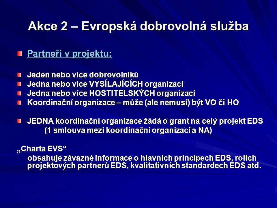 Akce 2 – Evropská dobrovolná služba Skupinová EDS (kolektivní EDS) - až 100 dobrovolníků (buď v jedné nebo více HO) - skupinová i individuální vzdělávací zkušenost, - pomoc HO a místní komunitě s důrazem na poznání - musí mít SPOLEČNÉ téma (nejde o nahodilé nesouvisející aktivity!) (nejde o nahodilé nesouvisející aktivity!) - NÁVAZNOST aktivit v daných HO - nutný PRAVIDELNÝ kontakt mezi dobrovolníky projektu (setkávání dobrovolníků během projektu…) (setkávání dobrovolníků během projektu…) - silné partnerství mezi zastoupenými organizacemi Cílem: zvýšit dopad EDS, zapojit více mladých lidí, zviditelnit EDS zviditelnit EDS Možná kombinace individuální a skupinové EDS v jednom projektu, možnost realizovat více různých aktivit v jednom projektu možnost realizovat více různých aktivit v jednom projektu