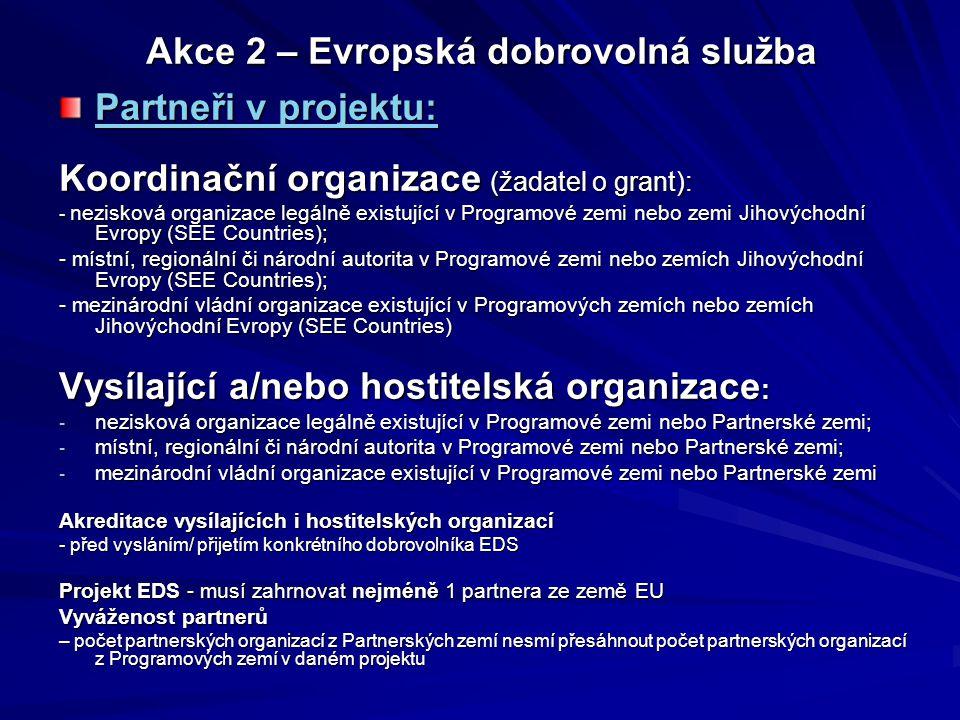 """Akce 2 – Evropská dobrovolná služba Partneři v projektu: Jeden nebo více dobrovolníků Jedna nebo více VYSÍLAJÍCÍCH organizací Jedna nebo více HOSTITELSKÝCH organizací Koordinační organizace – může (ale nemusí) být VO či HO JEDNA koordinační organizace žádá o grant na celý projekt EDS (1 smlouva mezi koordinační organizací a NA) """"Charta EVS obsahuje závazné informace o hlavních principech EDS, rolích projektových partnerů EDS, kvalitativních standardech EDS atd."""