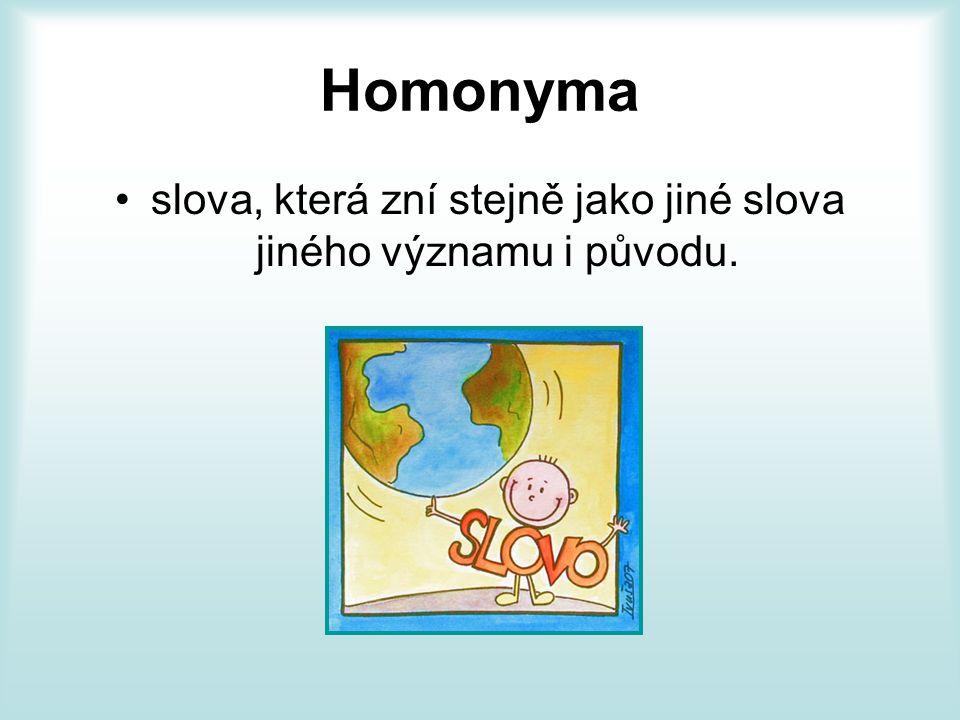 Homonyma slova, která zní stejně jako jiné slova jiného významu i původu.