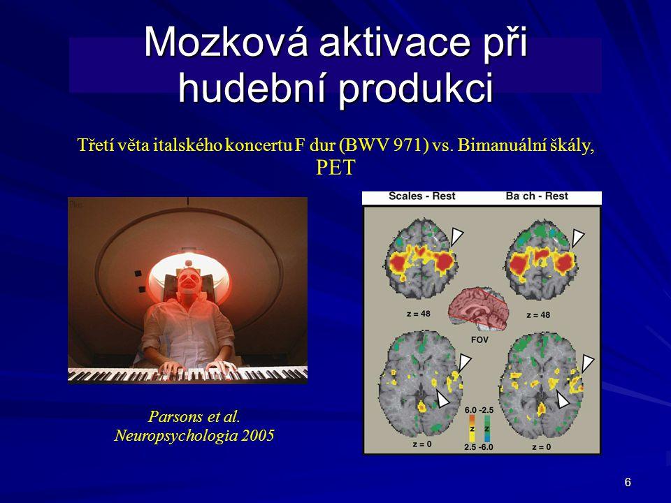 6 Mozková aktivace při hudební produkci Třetí věta italského koncertu F dur (BWV 971) vs.