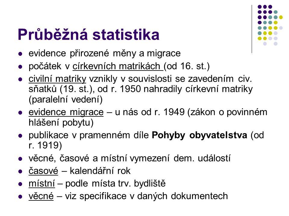 Průběžná statistika evidence přirozené měny a migrace počátek v církevních matrikách (od 16. st.) civilní matriky vznikly v souvislosti se zavedením c