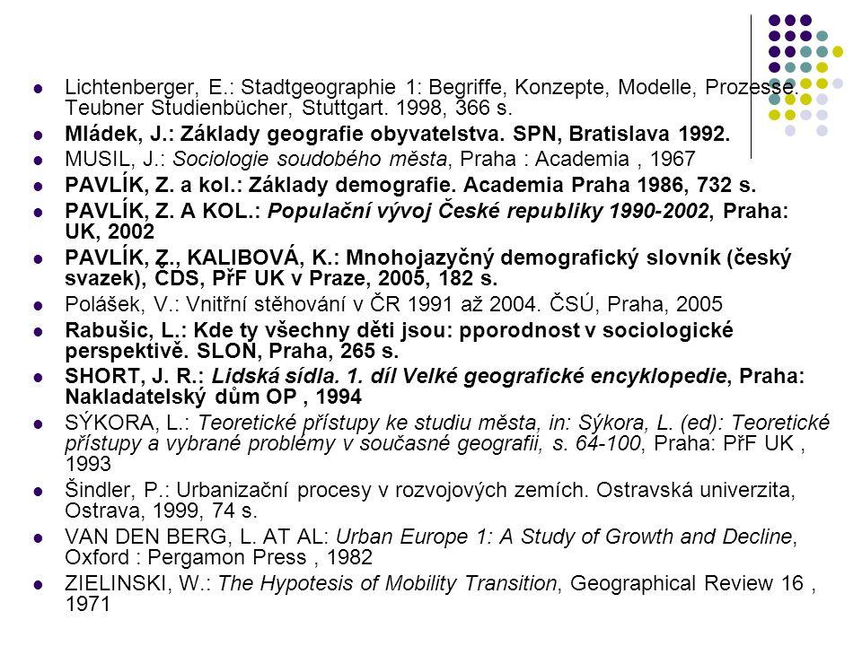 Lichtenberger, E.: Stadtgeographie 1: Begriffe, Konzepte, Modelle, Prozesse. Teubner Studienbücher, Stuttgart. 1998, 366 s. Mládek, J.: Základy geogra