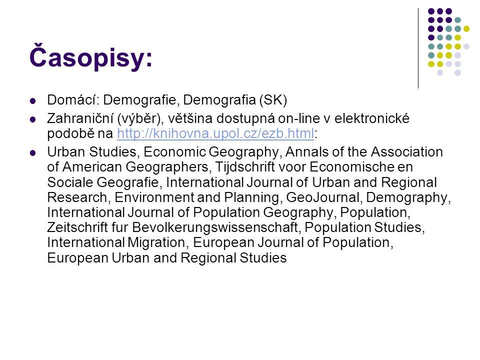Časopisy: Domácí: Demografie, Demografia (SK) Zahraniční (výběr), většina dostupná on-line v elektronické podobě na http://knihovna.upol.cz/ezb.html:h