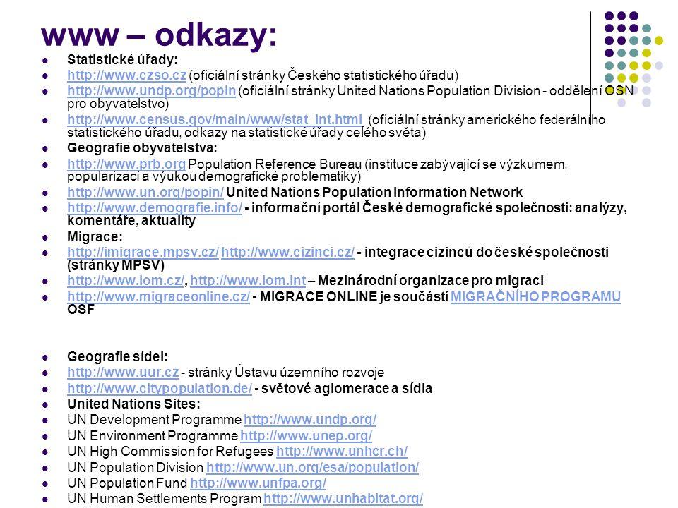 www – odkazy: Statistické úřady: http://www.czso.cz (oficiální stránky Českého statistického úřadu) http://www.czso.cz http://www.undp.org/popin (ofic