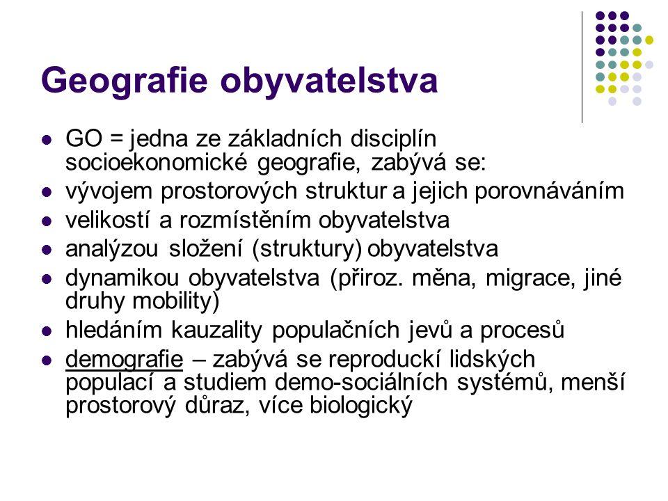 Geografie obyvatelstva GO = jedna ze základních disciplín socioekonomické geografie, zabývá se: vývojem prostorových struktur a jejich porovnáváním ve