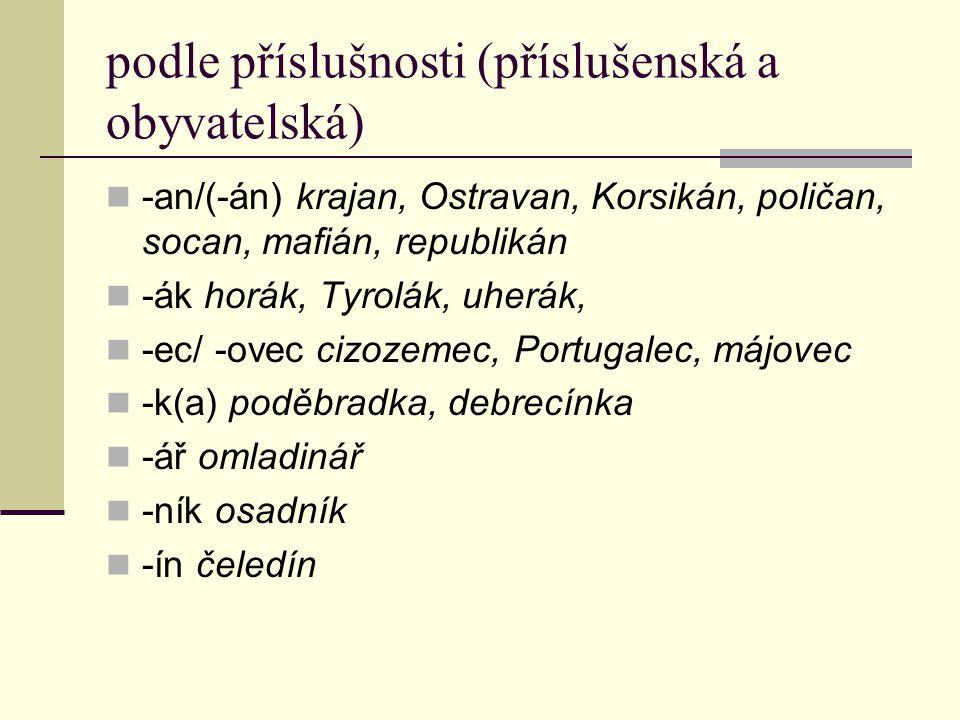 Jména zhrubělá (pejorativa) zveličelá (augmentativa) -isk-o/-išt-ě (psisko, dubisko, vousisko, piviště), -izn-a (babizna, barabizna) -ák (panák, židák, dědák) (pejorativní odstín mají rovněž varianty na –ák Brňan/Brňák – jména obyvatelská) -our (kněžour, popř.