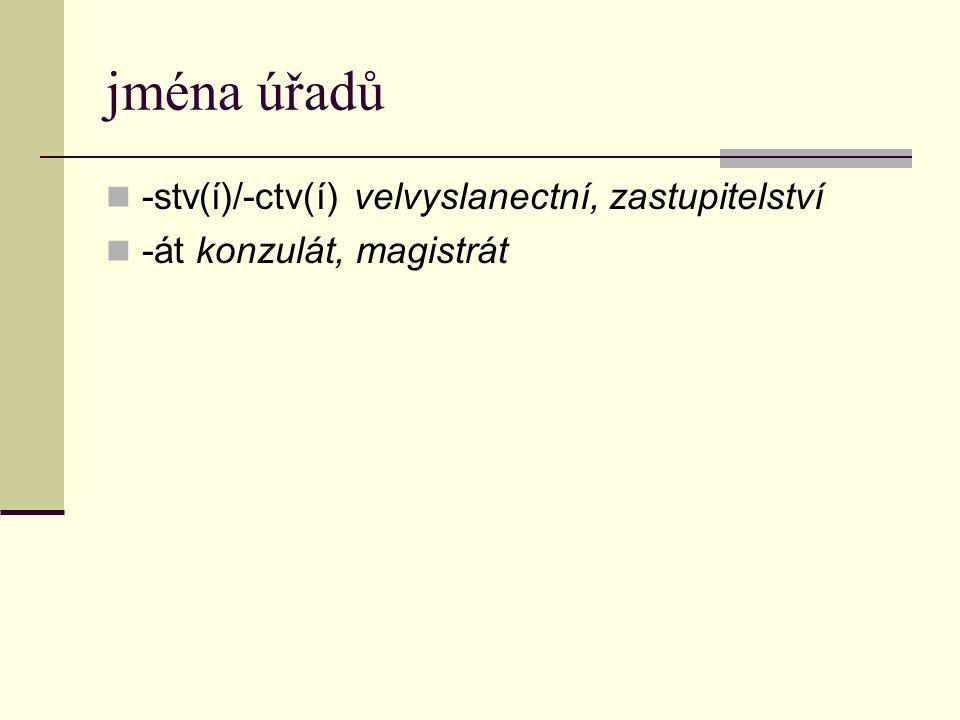 Jména hromadná a jména jednotlivin KOLEKTIVA -stvo/-ctvo (lidstvo, dělnictvo, ptactvo) -ina (obilnina, pícnina) -í/-ov-í (listí, uhlí, jahodí, bodláčí, stromoví) SINGULATIVA -ina (travina, bylina) -ka (obilka, slámka)