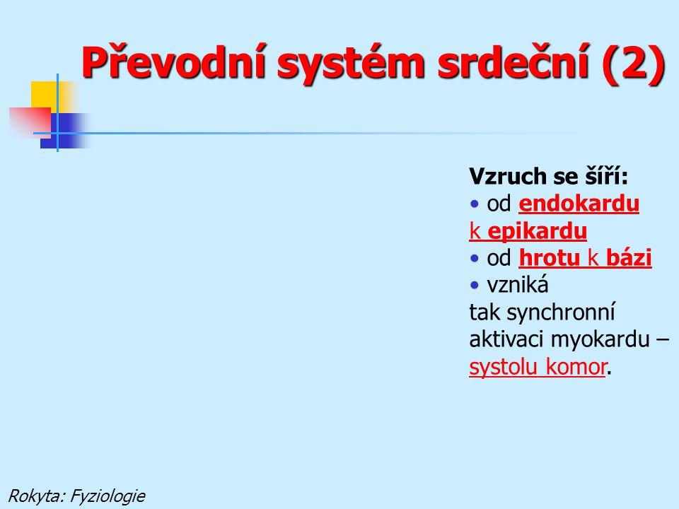 Převodní systém srdeční (2) Rokyta: Fyziologie Vzruch se šíří: od endokardu k epikardu od hrotu k bázi vzniká tak synchronní aktivaci myokardu – systolu komor.